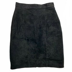 Diani VINTAGE sz 3 Black Suede Above the Knee Lined  Leather Pencil Skirt